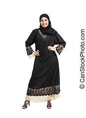 Arab woman posing standing looking at camera