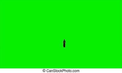 Arab woman walking against green screen, Luma Matte...