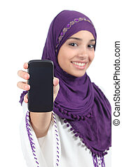 Arab woman wearing a hijab showing a blank smartphone screen...