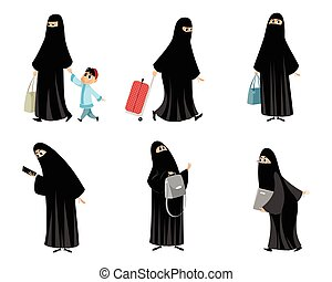 Arab women in black hijab