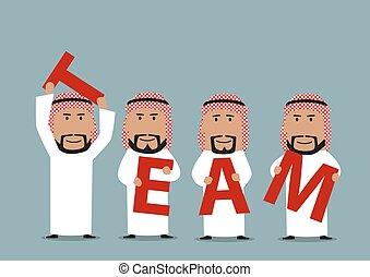 arabe, équipe, mot, créer, hommes affaires