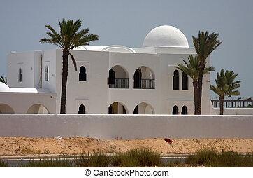 Style tunisie maison djerba blanc arabe photographie for Architecture maison arabe
