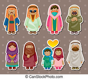 arabe, autocollants, dessin animé, gens