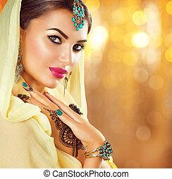 arabe, beauté, girl, à, noir, henné, tatouages, et, bijoux