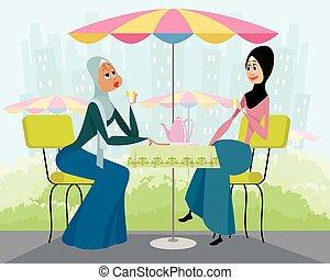 arabe, café, femmes
