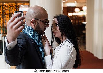 arabe, confection, selfie, girl, homme affaires