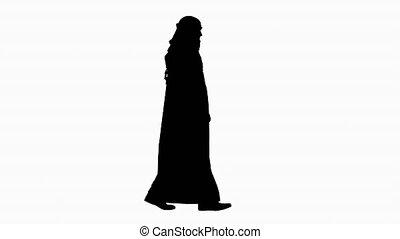 arabe, confiant, marche., barbe, cheikh, silhouette