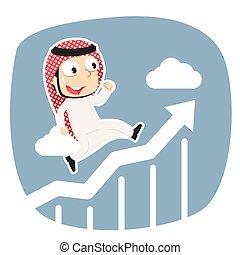arabe, courant, graphique, élévation, homme affaires
