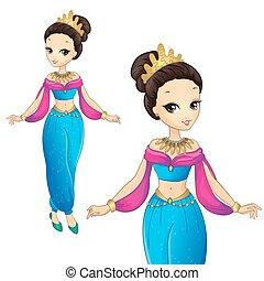 arabe, couronne, princesse, or