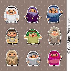 arabe, dessin animé, autocollants, gens