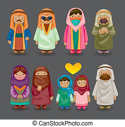arabe, dessin animé, icônes, gens