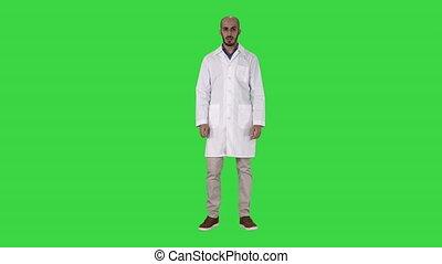 arabe, docteur, chroma, écran, conversation, appareil photo, vert, key.