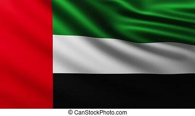 arabe, emirats, fond, drapeau, uni, battement des gouvernes, grand, vent