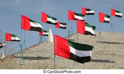 arabe, emirats, uni, drapeaux