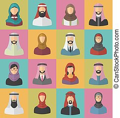 arabe, ensemble, hommes, femmes