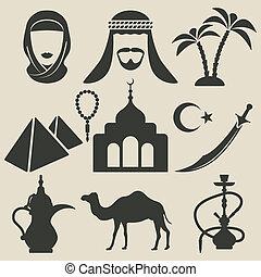 arabe, ensemble, icônes