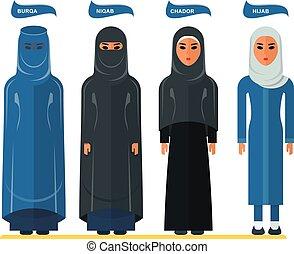 arabe, femme, headscarf