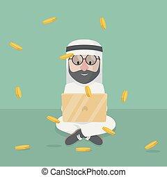 arabe, fonctionnement, bussinessman, ordinateur portable