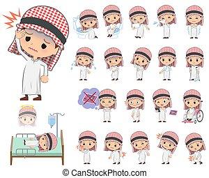 arabe, garçon, maladie