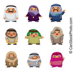arabe, gens, dessin animé, icônes