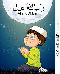 arabe, habillement, garçon, musulman, akbar, traditionnel, prier, allahu