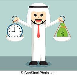 arabe, homme affaires, équilibre