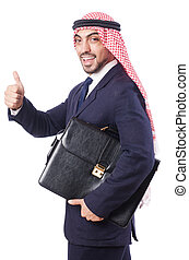 arabe, homme affaires, blanc, isolé