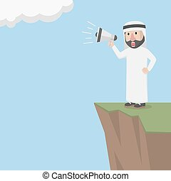 arabe, homme affaires, m, crier