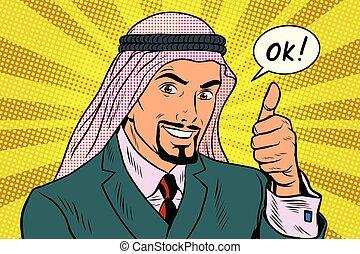 arabe, homme affaires, okey, haut, pouces