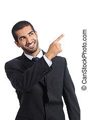 arabe, homme affaires, promoter, pointage, côté
