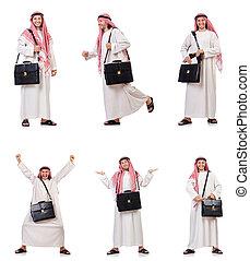 arabe, homme, isolé, blanc, fond