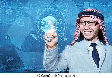 arabe, homme, urgent, virtuel, boutons, dans, futuriste, concept