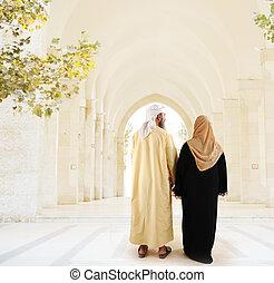 arabe, musulman, marche, couple, ensemble