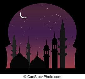 arabe, nuit, vue