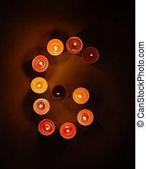 arabe, numer, 6, depuis, bougies
