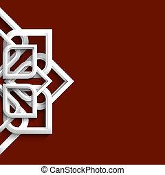 arabe, ornement, blanc, 3d