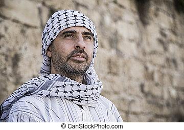 arabe, porter, homme, keffiyeh