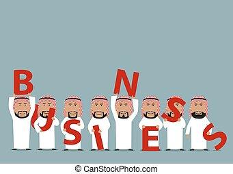 arabe, présentation, equipe affaires