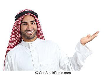 arabe, présentation, promoter, homme, produit, vide, saoudien