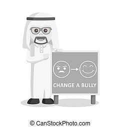 arabe, style, affiche, intimider, noir, homme affaires, blanc, changement