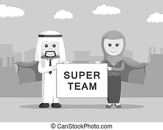 arabe, super, equipe affaires