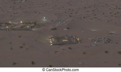 arabe, uni, soir, lit, vue, aérien, camps, emirats, désert