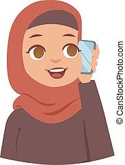 arabe, vecteur, femme
