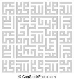 arabe, vecteur, géométrique, carrée, lettrage, sacré, kufi...