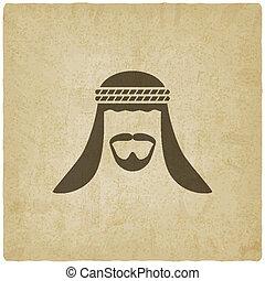 arabe, vieux, avatar, fond, homme