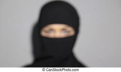 arabe, yeux, femme