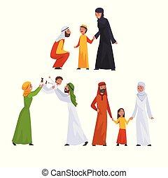 araber, familien, satz, moslem, abbildung, traditionelle , ihr, vektor, eltern, kleidung, kinder, glücklich
