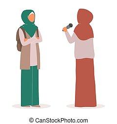 araber, interviewen, fernsehapparat, weibliche , news., schöne , reporter, moslem