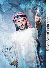 araber, mann, drücken, virtuell, tasten, in, zukunftsidee, begriff