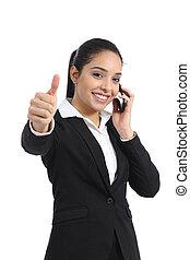 araber, unternehmerin, berufung, telefon, und, daumen